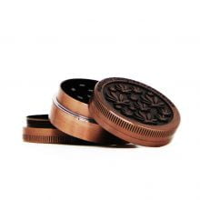 Amsterdam mini leafs bronze small metal grinder 40mm - 3 parts (12pcs/display)