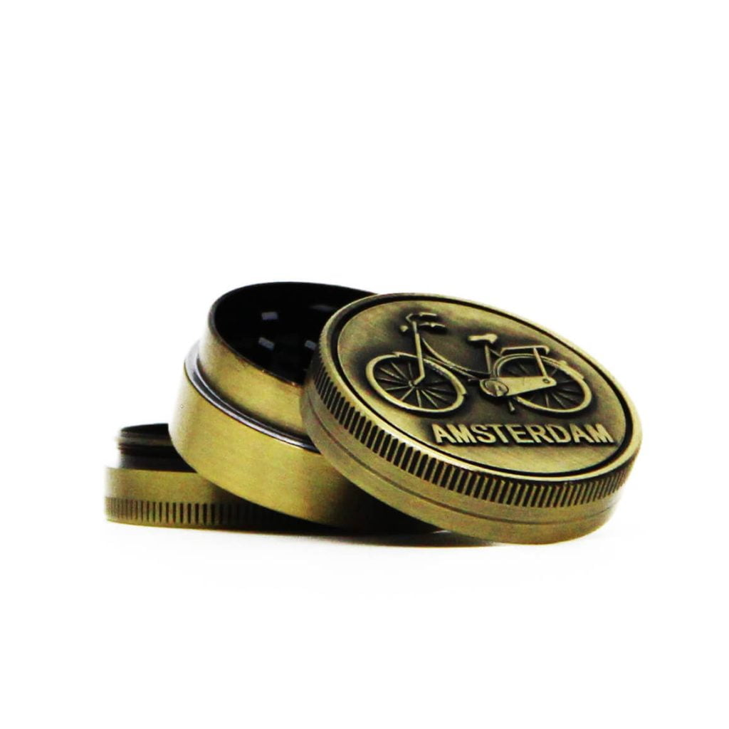 Amsterdam bike gold small metal grinder 40mm - 3 parts (12pcs/display)