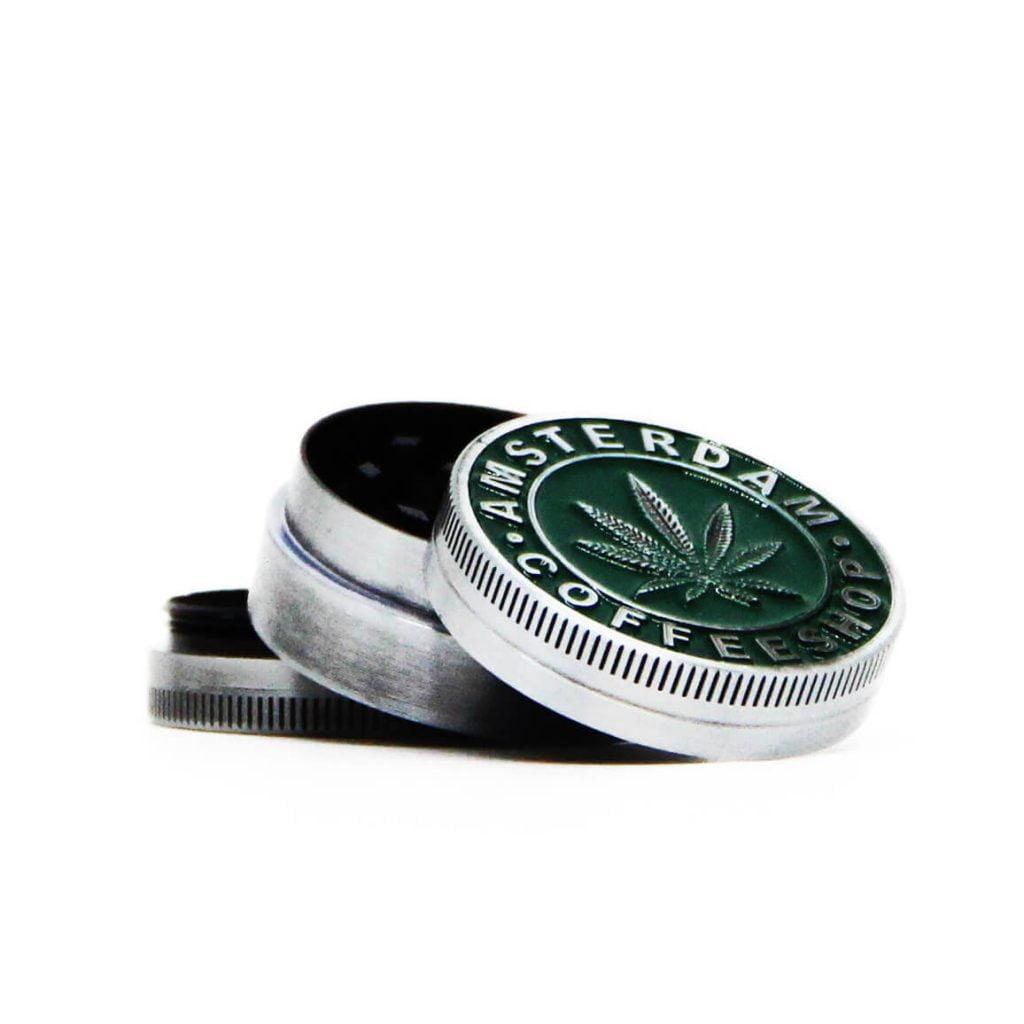 Green Amsterdam leaf small metal grinder 40mm - 3 parts (12pcs/display)