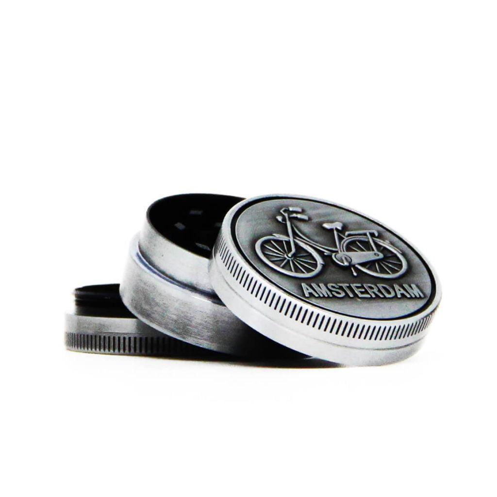 Amsterdam bike silver small metal grinder 40mm - 3 parts (12pcs/display)