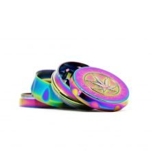 Rainbow weed leaf metal grinder 50mm - 4 parts (6pcs/display)