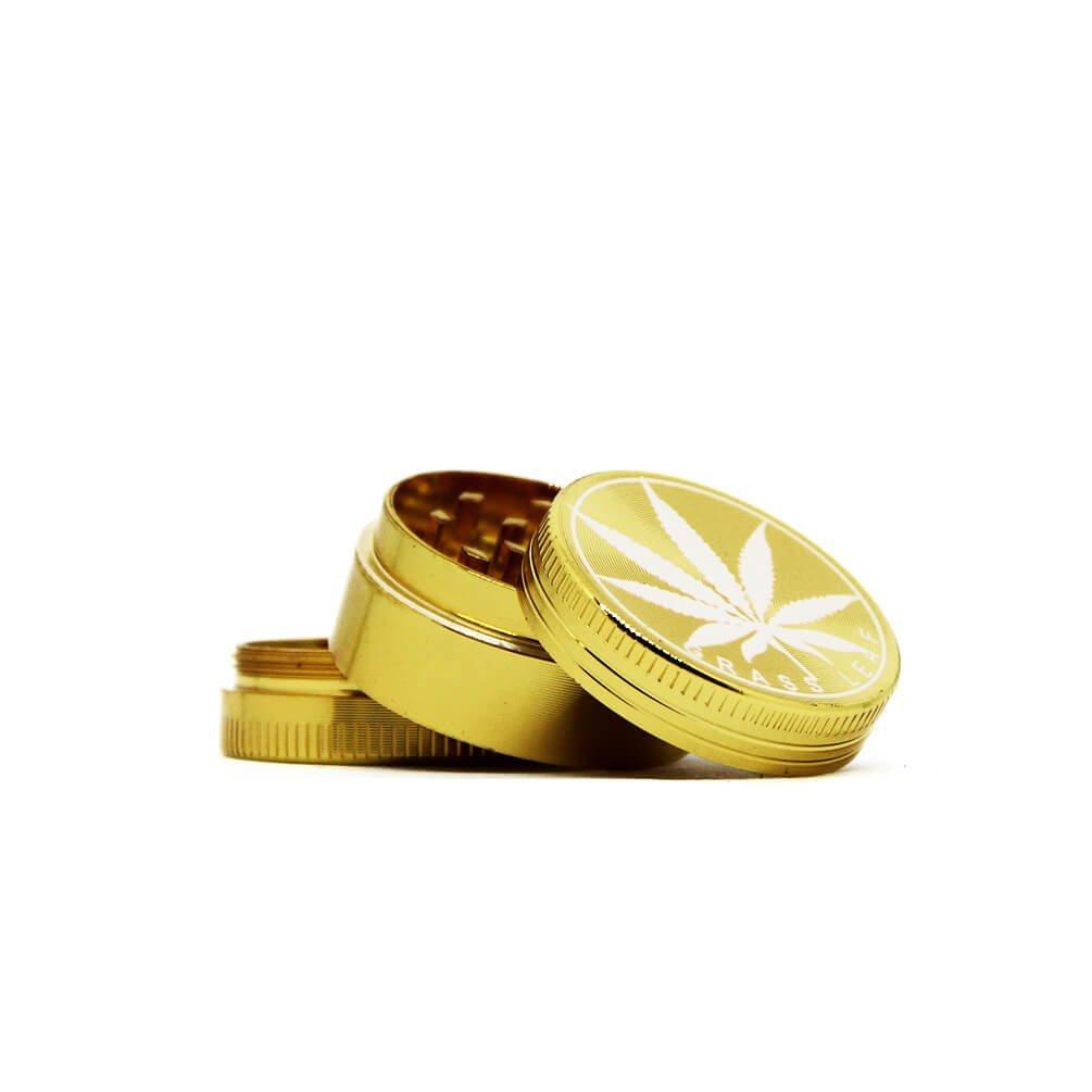 OUT Mini gold weed leaf metal grinder 30mm - 3 parts (12pcs/display)