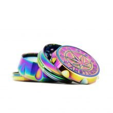 Rainbow weed leaf metal grinder 44mm - 4 parts (12pcs/display)