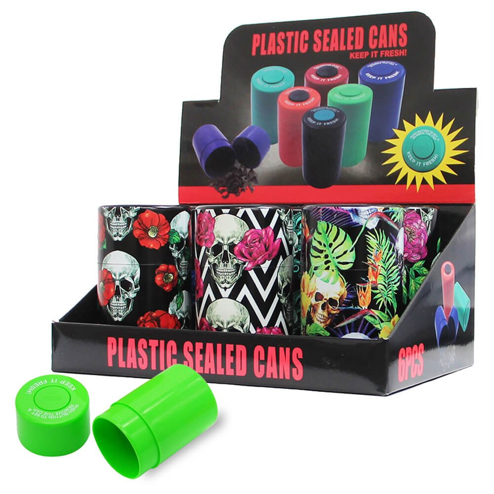 Plastic Sealed Cans Skull Flowers (6pcs/display)