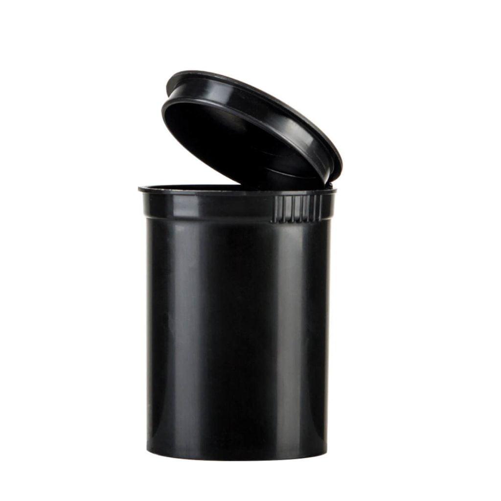 Poptop black plastic cannabis container medium 50mm