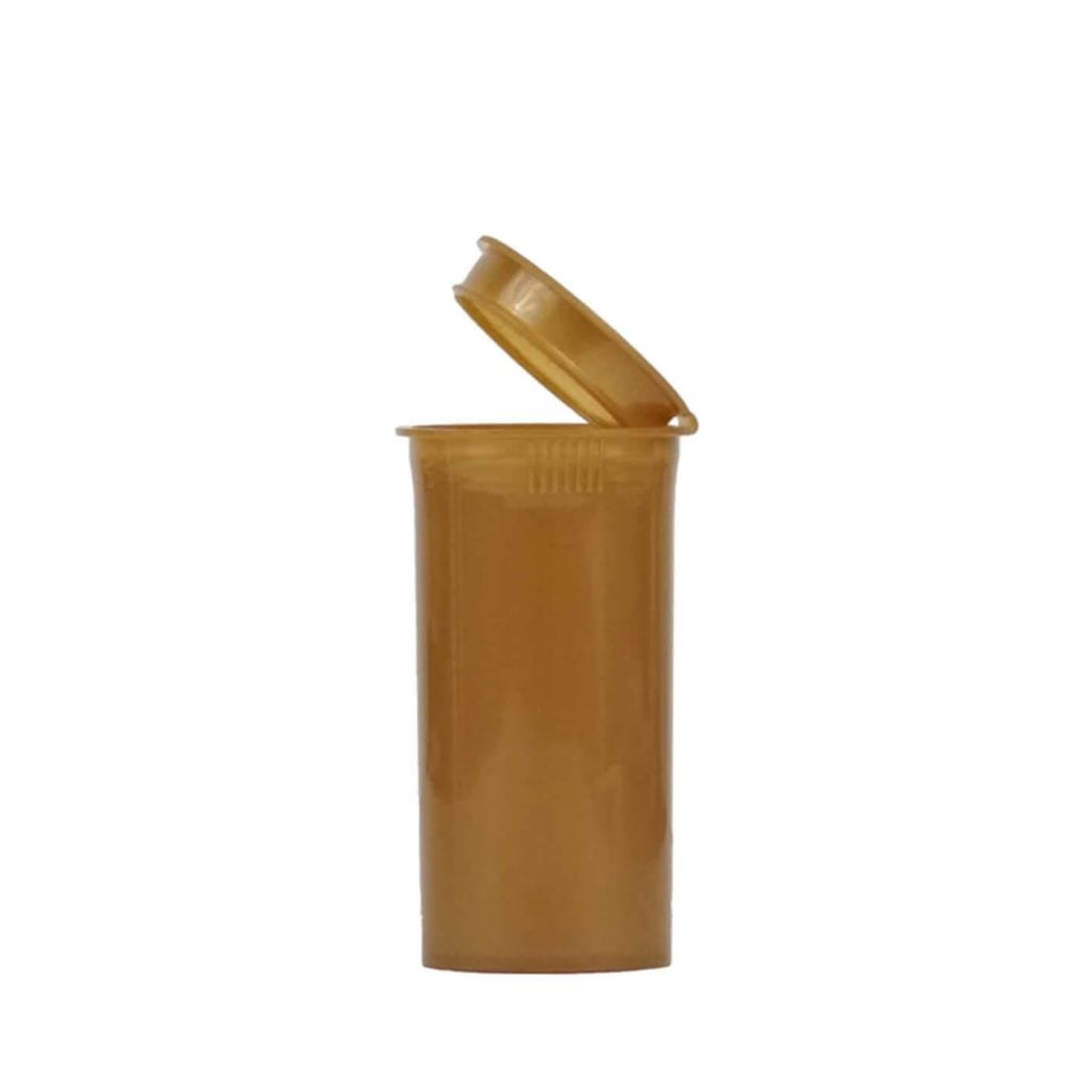 Poptop gold plastic tobacco and herbs container small 35mm
