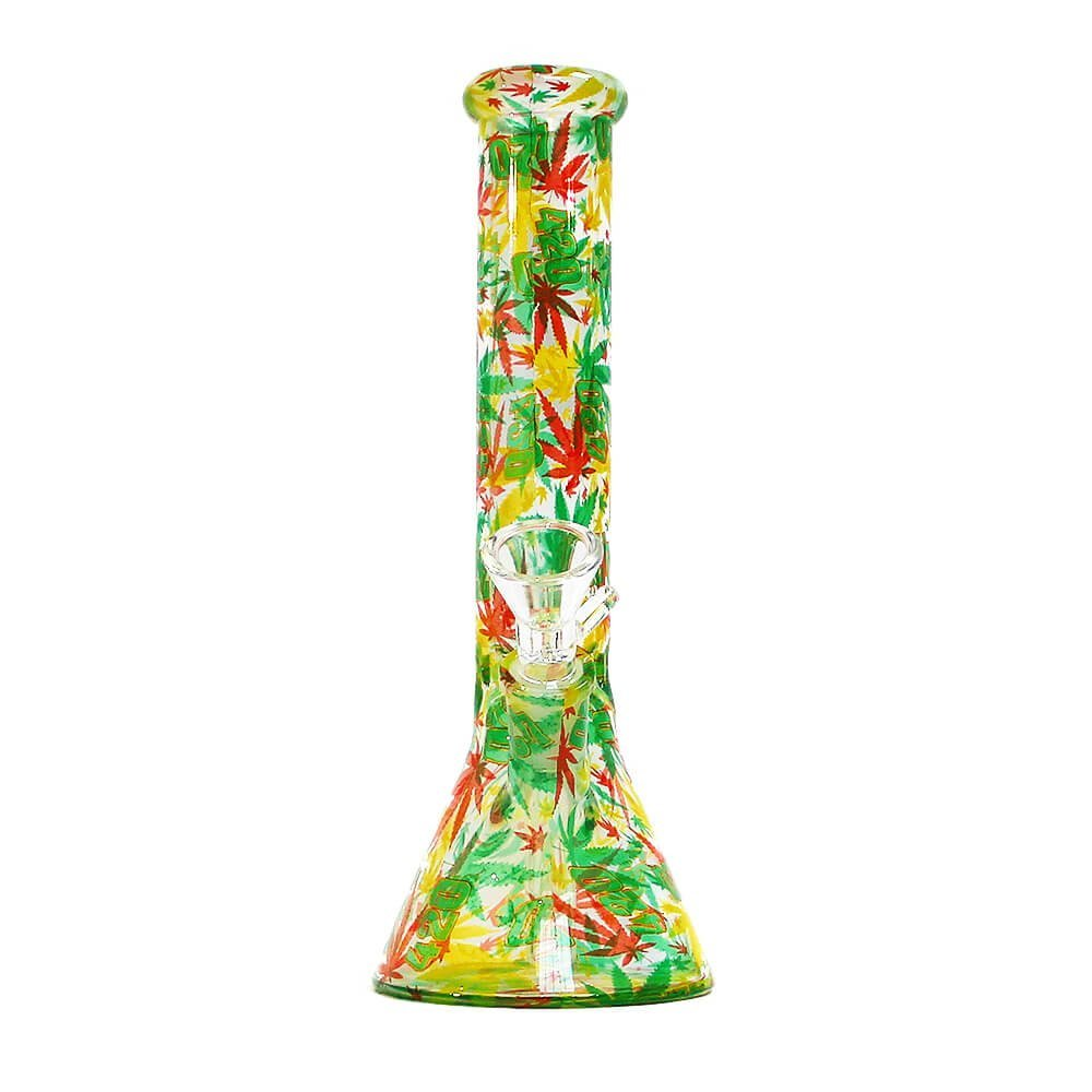 Rasta Leaves Glass Bong 26cm