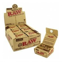 RAW Rolls and Tips 3 meters rolls + pre-rolled tips (12pcs/display)