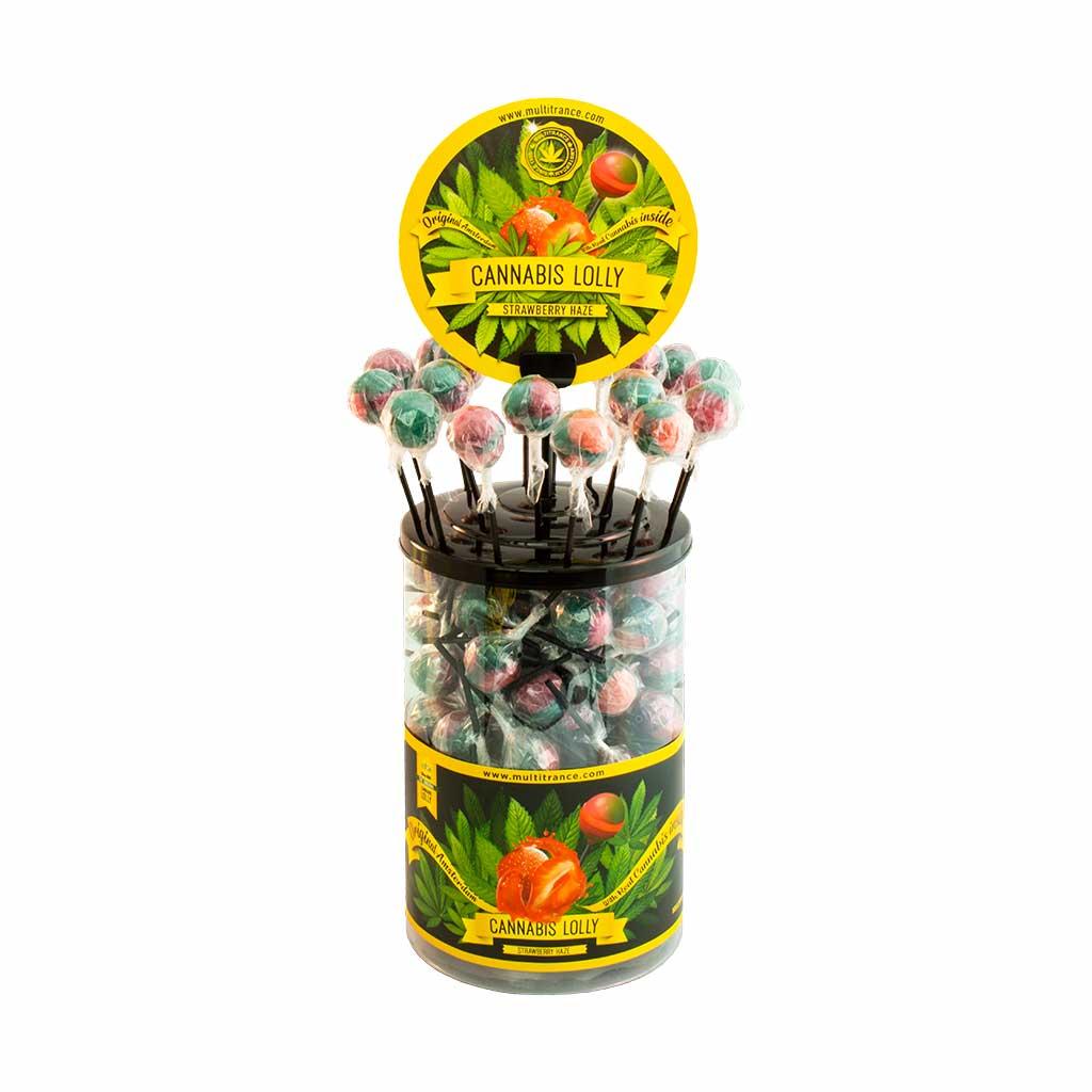 Cannabis lollipops Strawberry Haze THC free (100pcs/display)