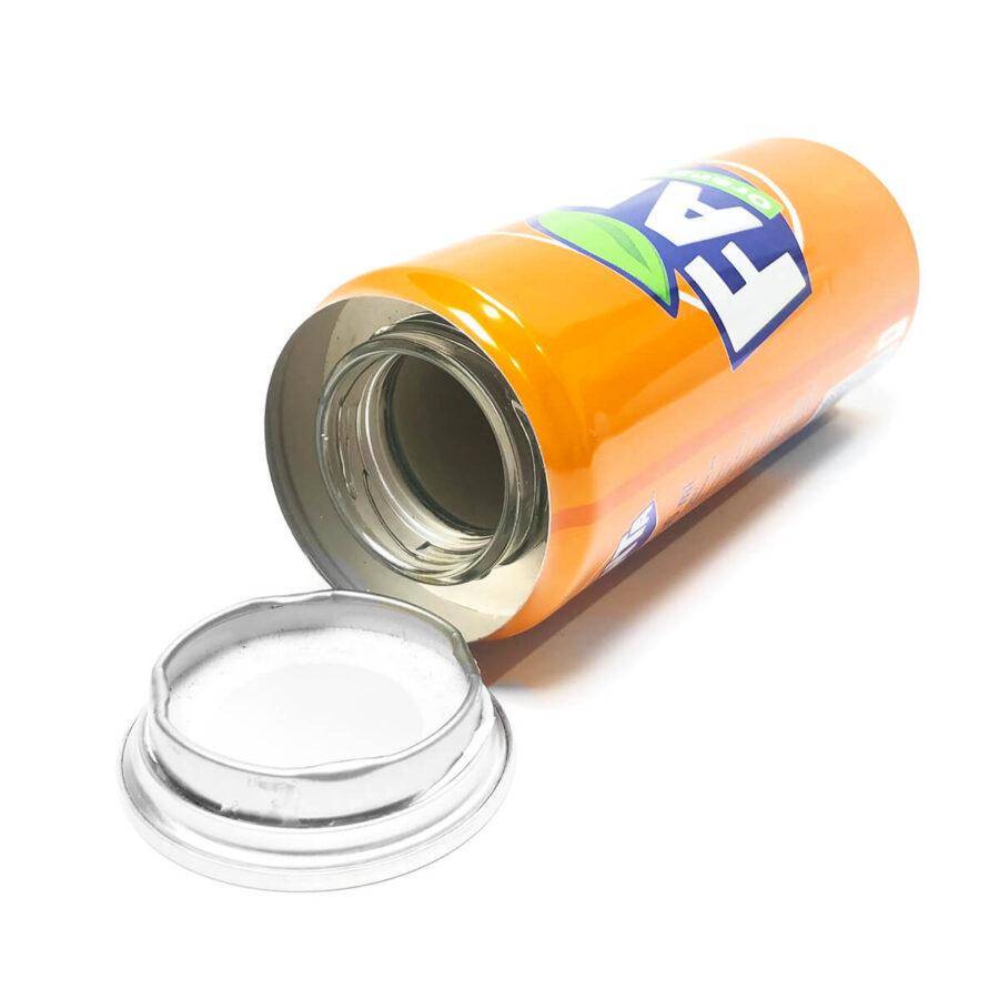 Orange drink aluminium smart stash can