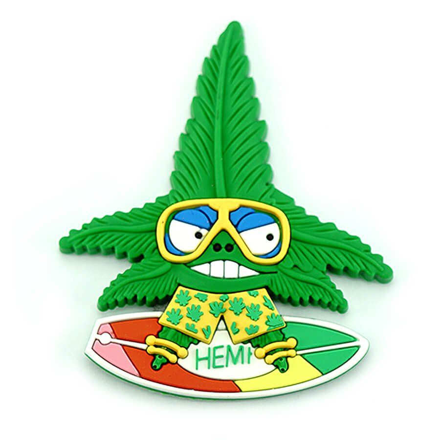 Hempy the Surfer Silicon Cannabis 3D Magnet