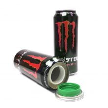 Red energy drink aluminium smart stash can
