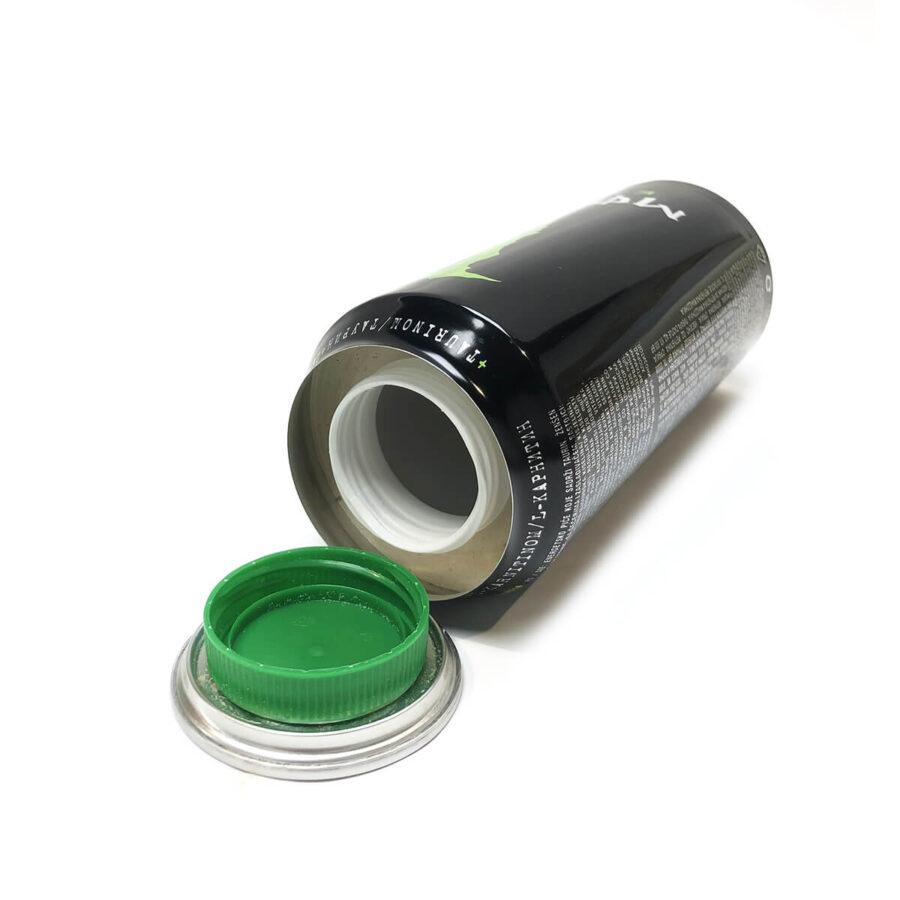 Green energy drink aluminium smart stash can