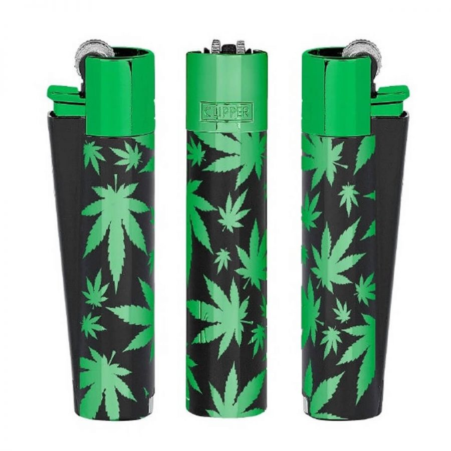 Clipper Green Leaves Metal Lighters + Giftbox (12pcs/display)