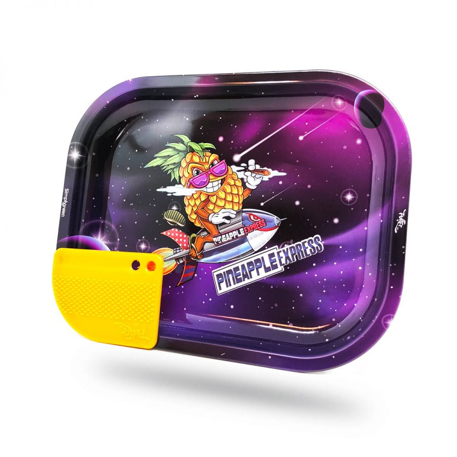 Best Buds - Superhigh Pineapple Express Small Metal Rolling Tray + Magnetic Grinder Card