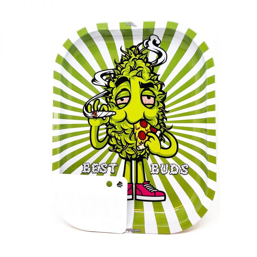 Best Buds - Hungry Pizza Small Metal Rolling Tray + Magnetic Grinder Card