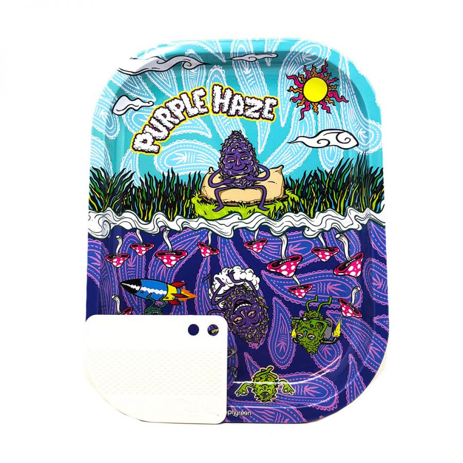 Best Buds - Purple Haze Small Metal Rolling Tray + Magnetic Grinder Card