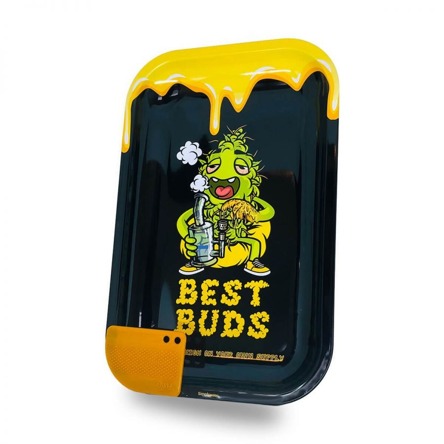 Best Buds - Dab Large Metal Rolling Tray + Magnetic Grinder Card