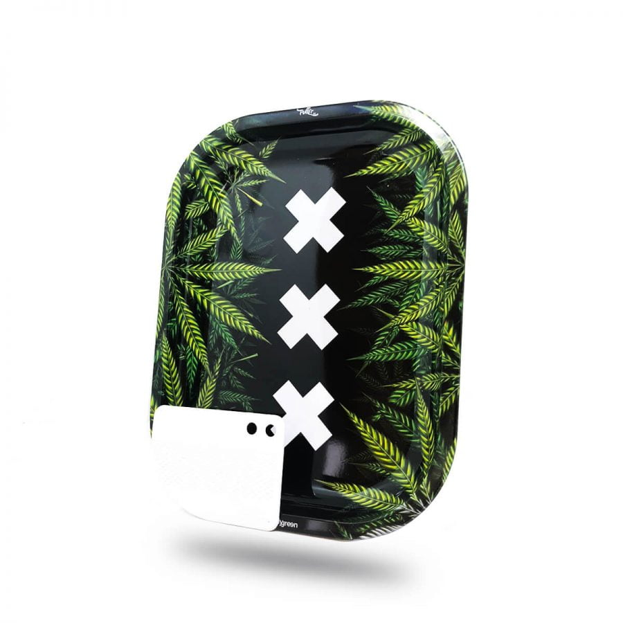 Best Buds - XXX Amsterdam Small Metal Rolling Tray + Magnetic Grinder Card