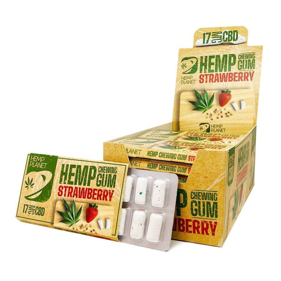 CBD Strawberry Hemp Chewing Gums THC Free (24pcs/display)