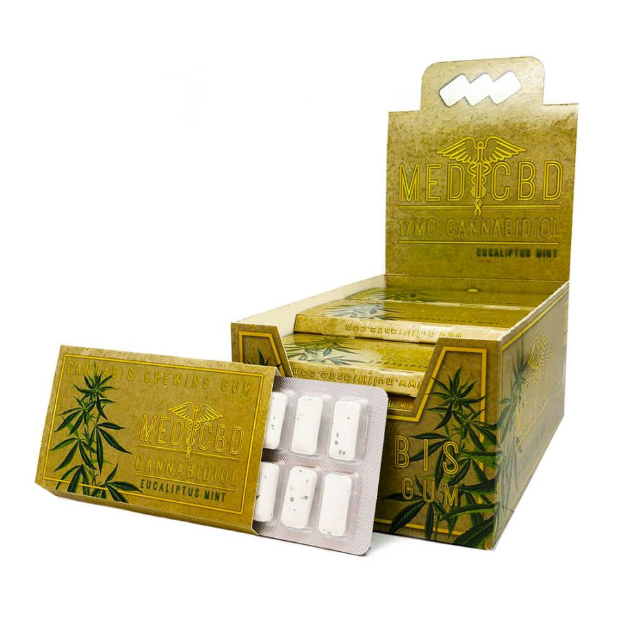 CBD Eucalyptus mint chewing gum brown THC free  (24pcs/display)