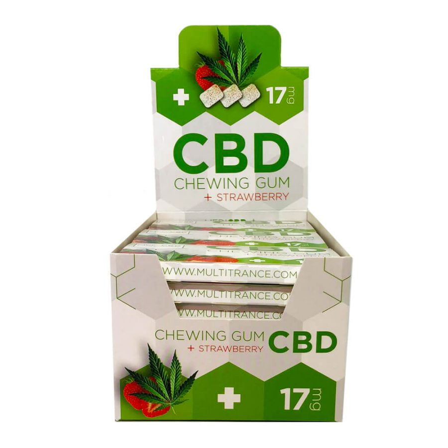 CBD Strawberry Cannabis Chewing Gums THC Free (24pcs/display)