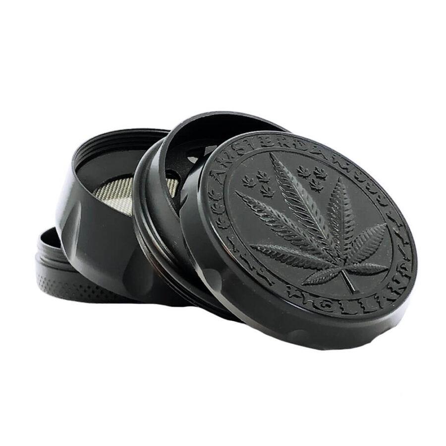 Black Weed Leaf Metal Grinders - 40mm - 4 parts (12pcs/display)