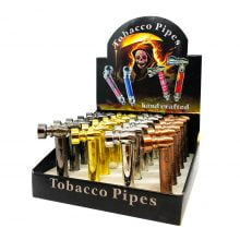 Weed Leaves Metal Tobacco Herbs Pipes (24pcs/display)