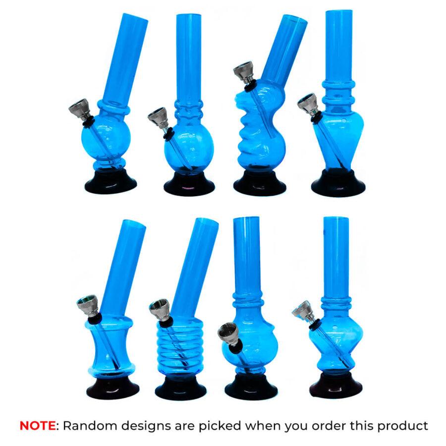 Mini Blue Acrylic Bong Mixed Designs 15cm