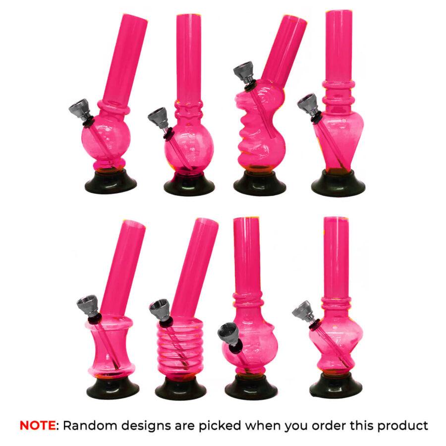 Mini Pink Acrylic Bong Mixed Designs 15cm