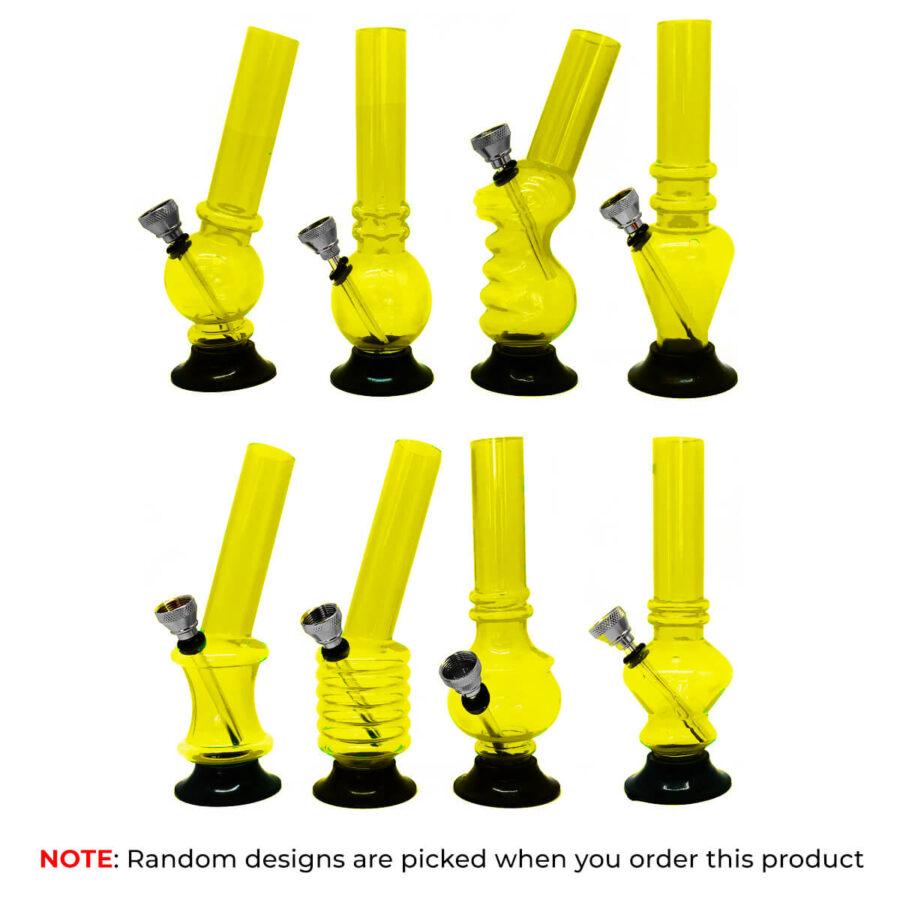 Mini Yellow Acrylic Bong Mixed Designs 15cm