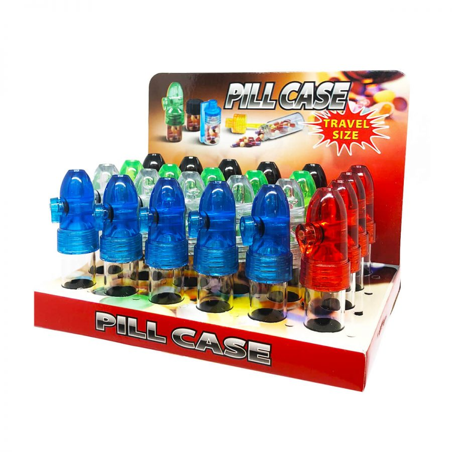 Plastic Snorters Pill Case Mixed Colors (24pcs/display)