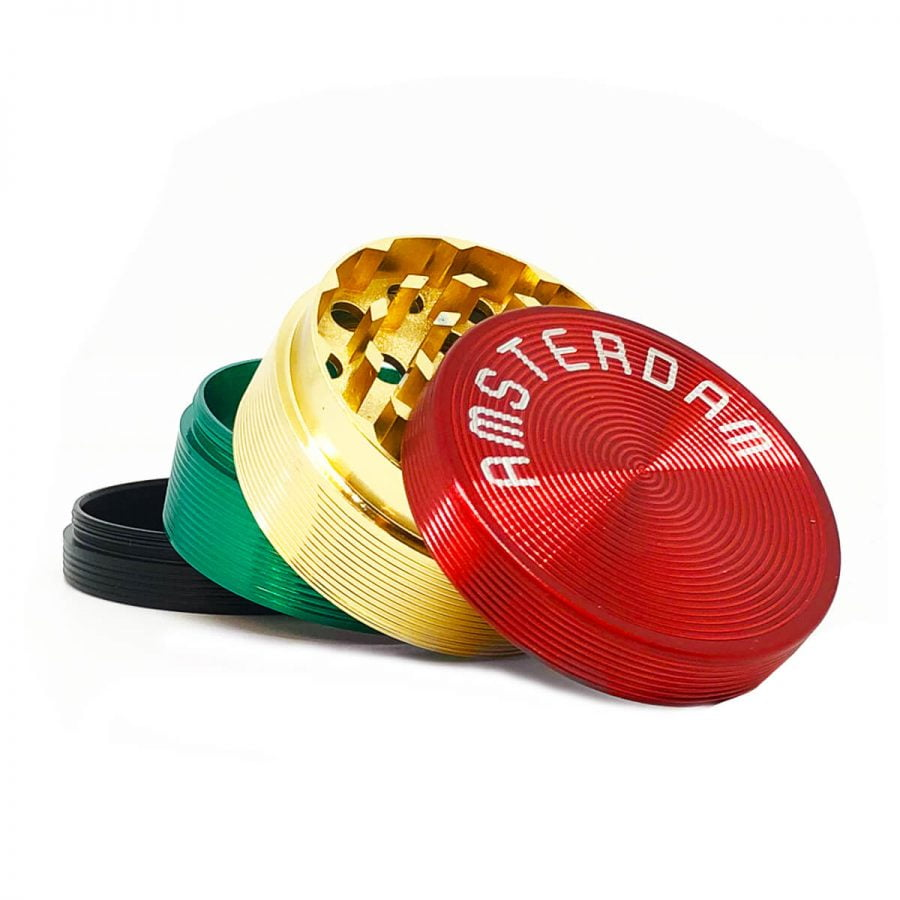 Amsterdam Rasta Lines Metal Grinders - 50mm - 4 parts (12pcs/display)