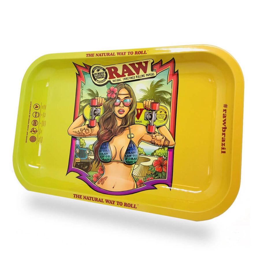 RAW Brazil 2 Girl Bikini Medium Metal Rolling Tray