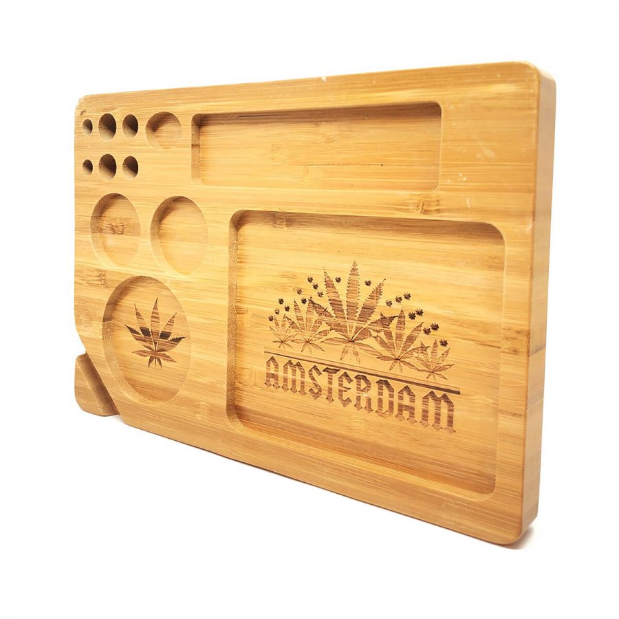 Amsterdam Cannabis Leaves Bamboo Rolling Tray Set