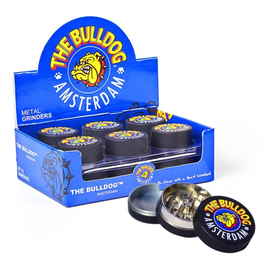 The Bulldog Original Black Amsterdam Metal Grinder 35mm  - 3 parts (12pcs/display)