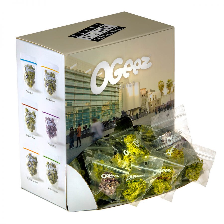 Ogeez Krunchbox Cannabis Shaped Chocolate Small Candies THC Free (90x10g)