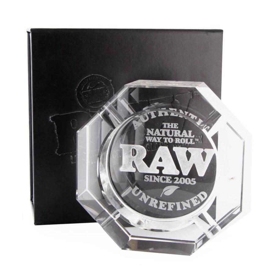 RAW Lead Free Crystal Glass Ashtray + Giftbox