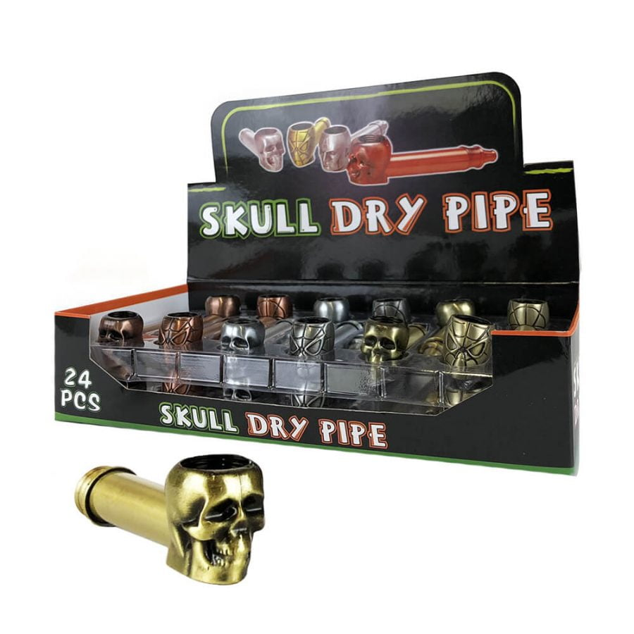 Skull Spider Metal Tobacco Pipe Mixed Colors (24pcs/display)