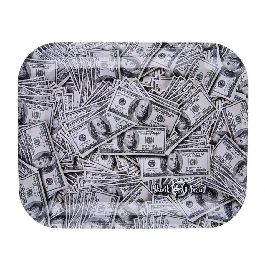 Skunk Brand Dollar Bills Metal Rolling Tray