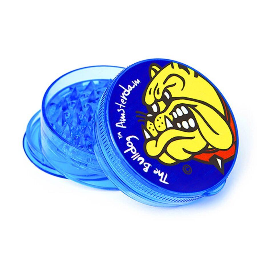 The Bulldog Original Blue 3D Touch Plastic Grinder 4 Parts - 60mm (12pcs/display)