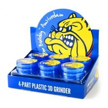 The Bulldog Original Blue 3D Touch Plastic Grinder 4 Parts - 60mm (12pcs/display)