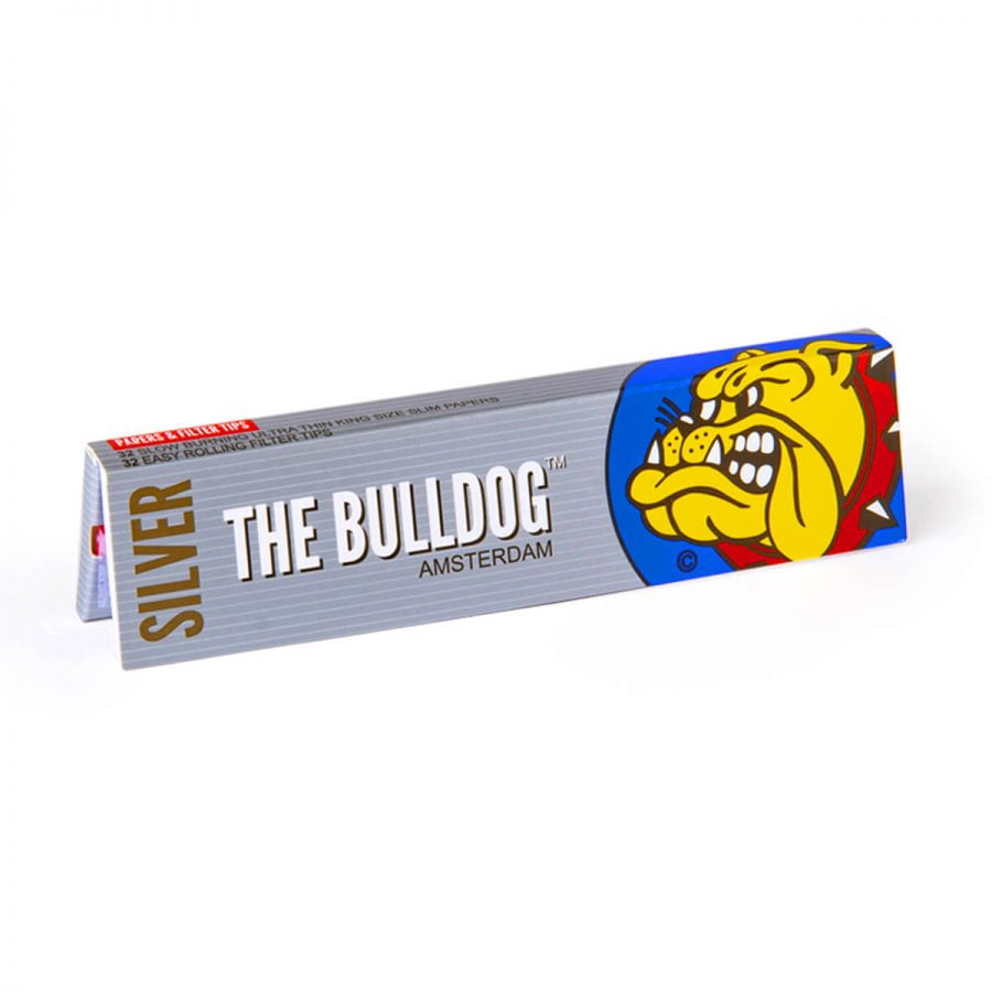 The Bulldog Original Silver King Size Slim Rolling Papers + Tips (24pcs/display)