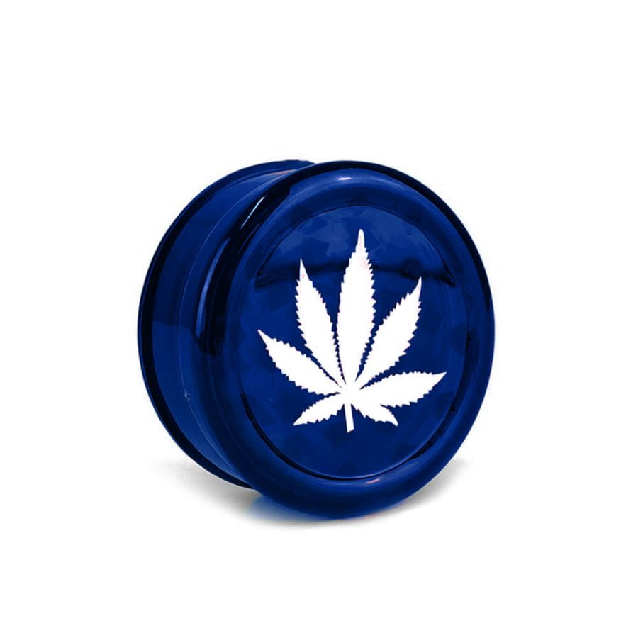 Weed Leaf Plastic Grinder Blue 3 parts - 50mm (12pcs/display)
