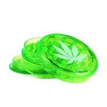 Weed Leaf Plastic Grinder Green 3 parts - 50mm (12pcs/display)