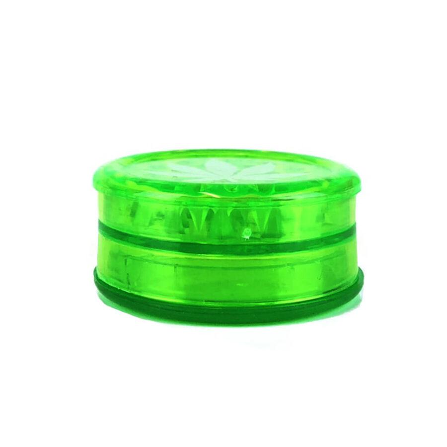 Weed Leaf Plastic Grinder Green 3 parts - 50mm (12pcs/display)