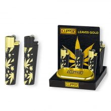 Clipper Metal Lighter Leaves Gold (12pcs/display)