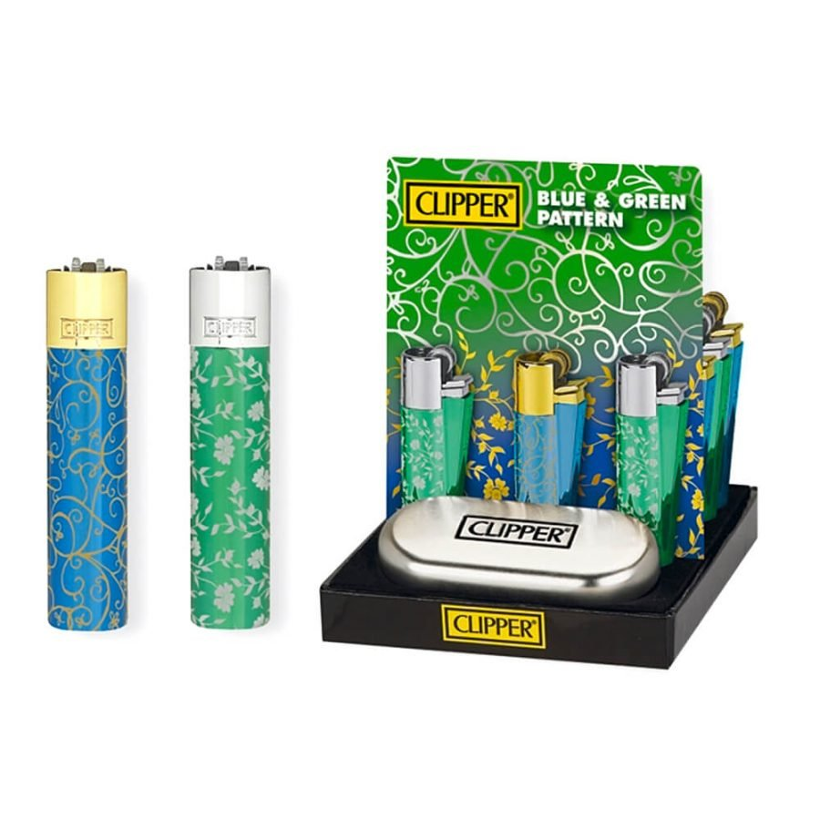 Clipper Metal Lighter Blue & Green Pattern (12pcs/display)