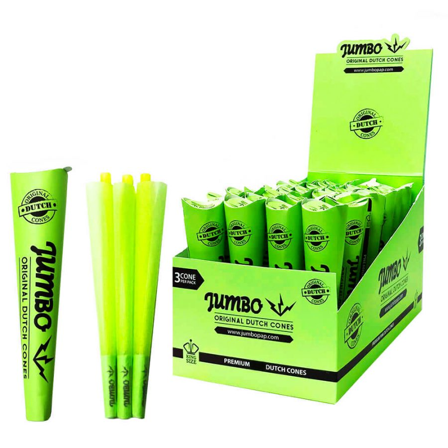 Jumbo King Size Green Cones 3 Cones Per Pack (24pcs/display)