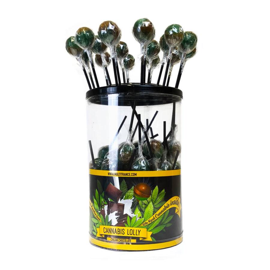 Cannabis lollipops Cream Chocolate THC free (100pcs/display)